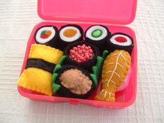 Felt Food Red Mini Box of Sushi by lisajhoney on Etsy