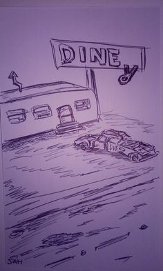 3-18-2016 Old diner and burned out car - Inspired by Fallout