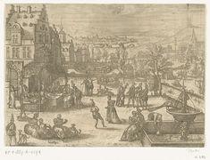 Pieter van der Borcht (I) | Mei, Pieter van der Borcht (I), 1545 - 1608 | Lentelandschap met voorjaarstaferelen. Mei is de maand van de liefde. De prent toont een stad. Op de voorgrond wordt muziek gespeeld, gedanst en gegeten. Er zijn overal koppeltjes te zien die samen rondwandelen of spelletjes spelen. Op de achtergrond worden er boottochtjes gehouden en is er een schietwedstrijd aan de gang (rechterkant). Middenboven het sterrenbeeld Tweelingen. In deze serie van de twaalf maanden wordt…
