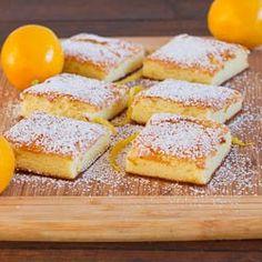 Two Ingredient Fat Free Lemon Bars  Box Angel Food cake mix and 22 oz can of lemon pie filling... bake 30-40 min at 350
