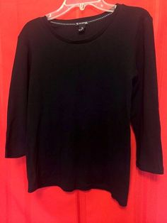 """Brand """" New Direction"""" Black Top Size PS 100% Cotton Deep Scoop Neck 3/4 Sleeves #NewDirections #KnitTop #Career"""