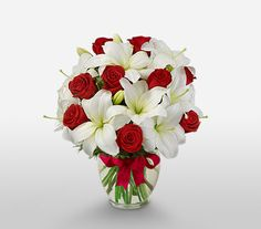 Red roses and white lilies bouquet