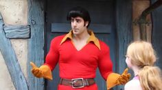 Disney World's funny Gaston loses to an 11-year-old girl at arm wrestling