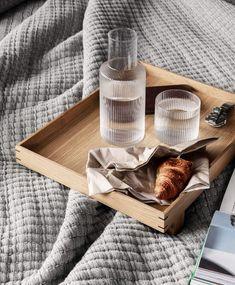 Ferm Living Ripple Carafe And Matching Glass Set - Trouva Design Shop, Deco Design, Glass Design, Design Design, Interior Design, Japanese Aesthetic, Japan Design, Breakfast In Bed, Dream Homes