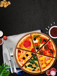 Pizza Flyer, Pizza Menu, Comida Pizza, Pizza Logo, Pizza Art, Food Menu Design, Food Backgrounds, Food Drawing, Good Pizza