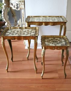 hollywood regency nested tray tables We had this set of tables in the home that I grew up in.