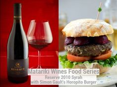 Simon Gault's HOROPITO KIWI BURGER with 2010 Reserve Syrah Burger Buns, Burgers, Pickled Beets, Lettuce Leaves, Grated Cheese, Kiwi, Wine Recipes, Sliders, Food Inspiration
