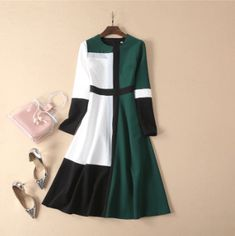 Designer Runway Midi Dress A-Line 2019 Women Spring Long Sleeve Contrast Color Dress Simple Casual Female Dress Celine, Girls Fashion Clothes, Fashion Outfits, Clothes For Women, Informal Attire, Sexy Backless Dress, Casual Formal Dresses, Batik Fashion, Sleeves Designs For Dresses