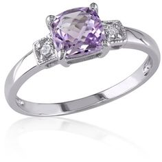 Belk & Co.  Amethyst And Diamond Ring In Sterling Silver ($53) ❤ liked on Polyvore featuring jewelry, rings, purple, amethyst rings, diamond jewelry, purple amethyst ring, sterling silver diamond rings and purple diamond ring
