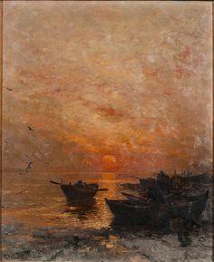 Ludwig Munthe (Norwegian, 1841-1896), Solnedgang om vinteren. Oil on canvas, 46 x 38cm.