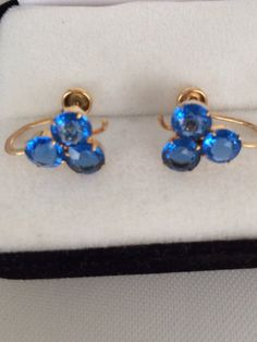 Lovely Vintage 10K Gold Clover Leaf Design Faceted Deep Royal Blue Topaz Gemstone Screw Back Earrings.