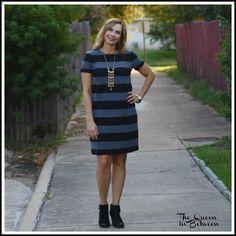 Loft striped dress is perfect for fall; Queeninbetween.blogspot.com