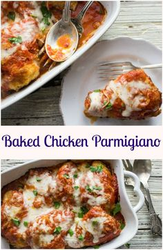 Baked Chicken Parmigiano, an easy, delicious baked chicken casserole recipe. A…