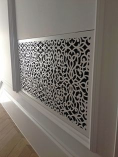 Laser cut screens - Belgravia - London, Radiator and A/C screens - Classic scroll design by Miles and Lincoln. www.milesandlincoln.com
