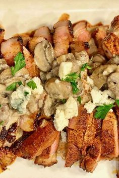Pork Steaks with Mushroom-Blue Cheese Sauce Grilled Steak Recipes, Pork Recipes, Pork Shoulder Steak, Pork Steaks, Stuffed Portabello Mushrooms, Blue Cheese Sauce, Cheese Pairings, Summer Grilling Recipes, Cooking Instructions