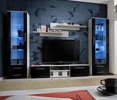 Telia 4 - black high gloss fronts and white wall unit - Telia 4 – black high gloss fronts and white wall unit tv units Modern Tv Room, Modern Tv Wall Units, Modern Wall, Living Room Tv Unit Designs, Living Room Wall Units, Tv Unit Decor, Tv Wall Decor, Tv Wanddekor, Modern Tv Cabinet