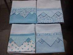 Pano de copa   barrado com patchwork   origame Sewing Hacks, Sewing Crafts, Sewing Projects, Embroidery Patterns, Quilt Patterns, Sewing Patterns, Origami, Dish Towels, Tea Towels
