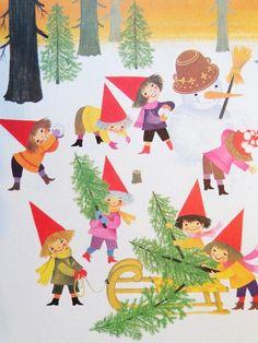 Vintage Christmas Elf Illustration:  Building snowman and collecting Christmas trees