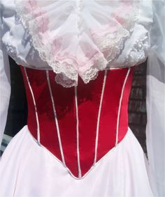 Jolly Holiday Adult Mary Poppins Custom Made Costume with Red Satin Corset and Pink Petticoat. via Etsy.