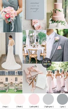 We're thinking about how elegant blush pink and soft gray look together.This palette is a perfect combination for girly brides who love their classic pink