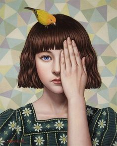 """Invisible Feeling"" - Shiori Matsumoto, 2012 {contemporary figurative artist female head hand canary bird female face portrait painting}"