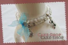 Bracelet double 6mm transparent & bleu été