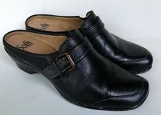 Sofft women's mule with buckle black EXCELLENT pre-owned  wedge heel size 8 M #sofft #Mules
