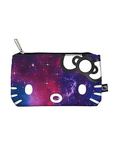 "<p>Hello Kitty is hanging out in space, keeping your school supplies safe and sound. Blue, pink and purple galaxy print pencil case from Loungefly with a metallic Hello Kitty face and bow design on one side. Grey and white striped print lining. Zipper closure. </p>  <ul> 	<li>8"" x 4 3/4""</li> 	<li>100% polyester</li> 	<li>Imported</li> </ul>"