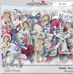 Sandy Toes digital scarpbooking elements from Ilonka's Scrapbook Designs. This wonderful beach inspired kit is a great addition to your summer digi stash. This nautical kit in whites, blues and reds with a vintage feel will add that special touch to your layouts