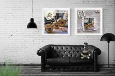 Set of 2 print, tea print, inspirational quote, tea lover, kitchen print, retro poster, Kitchen art, gold tea cups teapot print kitchen sign