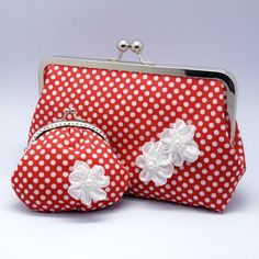 Purse set  White Polka Dots in Red with white by gracefulbanquet, $51.00