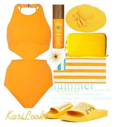 """Orange Sun"" by karilooks ❤ liked on Polyvore featuring Flagpole, Alterna and Havaianas"