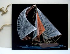 Vintage String Art Sailboat Mid Century Colors by Modernera