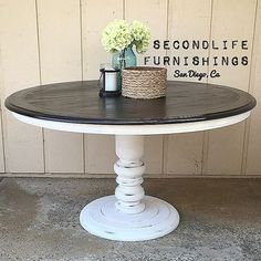 "102 Likes, 4 Comments - SecondLife Furnishings ☀️ (@secondlife_furnishings) on Instagram: ""SOLD: With some Pottery Barn inspiration this pedestal table was refinished for a client and her…"""