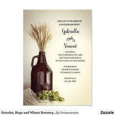 Growler, Hops and Wheat Brewery Engagement Party Couples Wedding Shower Invitations, Engagement Party Invitations, Wedding Couples, Create Your Own Invitations, Custom Invitations, Casual Engagement Party, Brewery Wedding, Brew Pub, Party Themes
