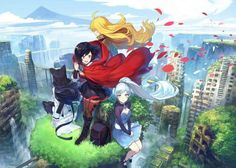 Rwby reunion!!!! Oh volume 5 come faster!! Ruby Rose, Weiss Schnee, Blake Belladonna, and Yang Xiao Long