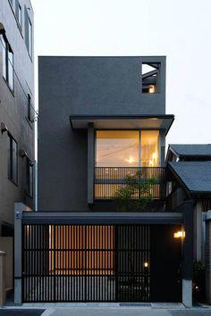 Japan modern house design hill house modern design and architecture Small House Design, Modern House Design, Modern Exterior, Exterior Design, Black Exterior, Japan Modern House, Architecture Design, Modern Minimalist House, Modern Mansion