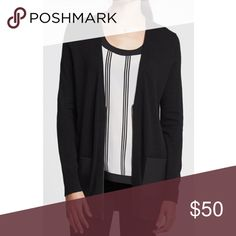 banana republic leather pocket cardi Gorgeous Banana Republic cardigan. Longer length, v-neck, zipper, faux leather front patch pockets. Black. No fading or pilling. Excellent condition! Size small. More photos coming soon! Banana Republic Sweaters Cardigans