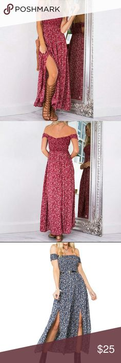 WOMENS SEXY BOHEMIAN FLOWER PRINTED DRESS Summer beach dress Strapless Ankle length Maxi dress Cotton, polyster Fit & flare Fits true to size Only have red coming in will order blue if asked Only ordering medium size will order small or large is asked Brand for advertisment only Free People Dresses Maxi