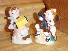 2 VINTAGE MINIATURE FIGURINES Boy & VIOLIN Girl & Squeeze Box OCCUPIED JAPAN #OCCUPIEDJAPAN