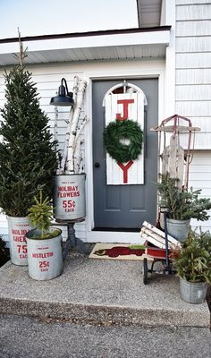 Rustic Christmas Porch  - CountryLiving.com