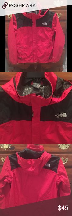 Boys XL North Face rain jacket Fits like a women's Small Rain jacket.  Great for cool rainy weather. The North Face Jackets & Coats