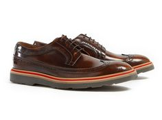 Brown Polished Leather Stacked Grand Brogues by Paul Smith