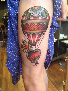 Traditional Hot Air Balloon by Rich Warburton at Dermal Puncture Emporium; Stoke on Trent, UK.