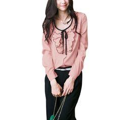 Allegra K Ladies Single Breasted Long Sleeve Semi Sheer Chiffon Spring Blouse Pink S Allegra K. $12.07