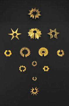 Indonesia ~ Java | Ear ornaments; gold | Period: 200 - 650, Protoclassic Period
