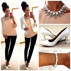 white blazer, blush top, black fitted pants trousers white heels bling winter work (Hello, Gorgeous!: Work Wear)