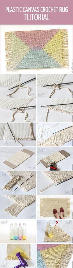 Plastic canvas RUG tutorial / Вяжем крючком по канве уютный коврик