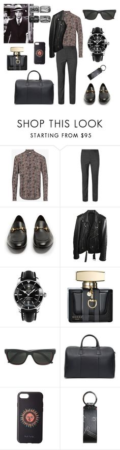 """""""Bday outfit for the bday boy🖤❤️🖤❤️🖤"""" by gloriatovizi on Polyvore featuring Yves Saint Laurent, Gucci, BLK DNM, Breitling, Cartier, Canali, Paul Smith, Bally, Pottery Barn and men's fashion"""