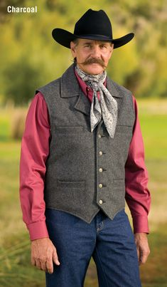 Schaefer proudly introduces our hand tailored vest to create a classic fitted look. The Cattle Baron Vest is distinctively frontier-styled and recognizes your strong stature. Cowboy Vest, Western Vest, Cowboy Outfits, Western Outfits, Cowboy Action Shooting, Schaefer, Mens Attire, Looking Dapper, Wool Vest